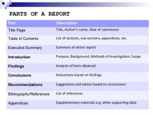 parts of report defined